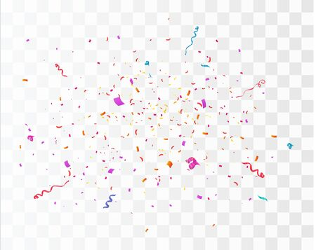 Confetti burst explosion. Color flying ribbons and streamers. Birthday party vector background