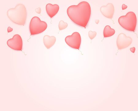 Valentine day banner with heart shape balloons. Valentine's day sale poster.