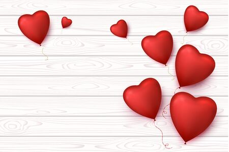 Valentines Day Blank wooden banner with heart balloons isolated. Vector romantic background. Illustration