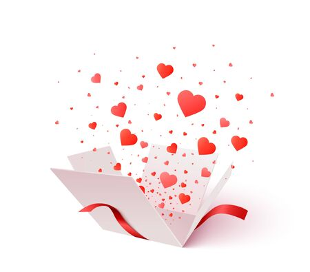 Open gift box with heart shape confetti burst explosion. 3d vector Valentines Day concept. Romantic gift