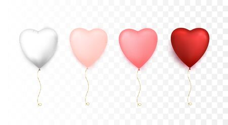 Heart shaped balloons. Happy Valentines Day. Vector illustration