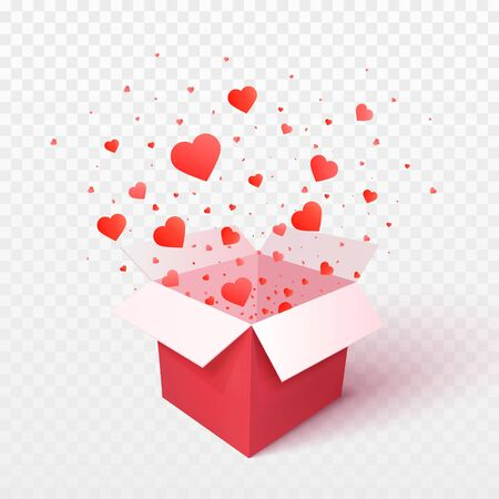 Open gift box with heart shape confetti burst explosion. 3d vector Valentines Day concept. Romantic gift Illustration