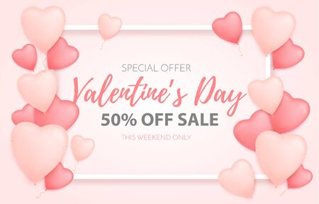 Valentines day love background. Valentine greeting card. Vector hearts with text.