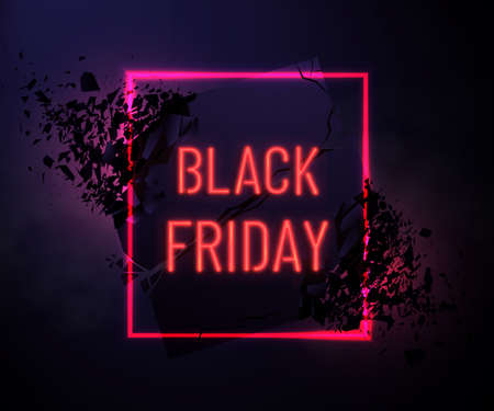 Black Friday Sale Banner With Neon glow frame Explosive Effect. Square frame with explosion and light.