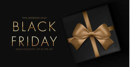 Black friday sale background with gift box and golden ribbon bow. Mega discount Luxury gold and white text. Illustration