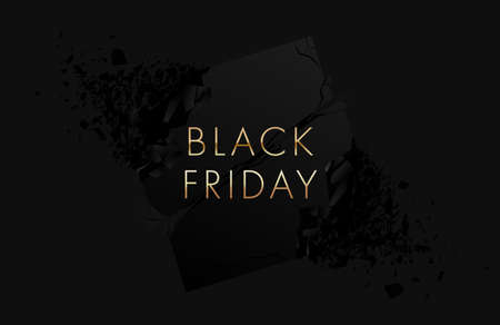 Black Friday banner on black background. Explosion effect with flying parts.Vector illustration