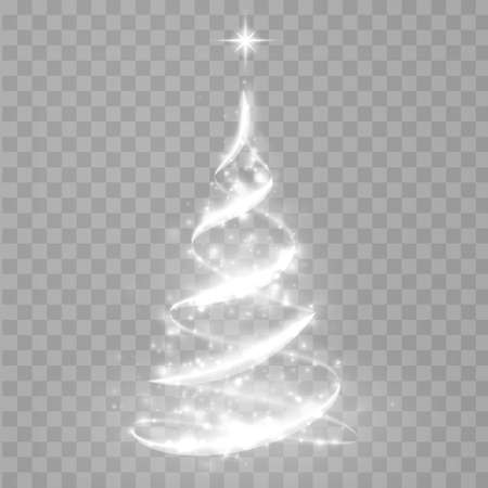 Abstract Christmas tree from light. Christmas tree vector element for holiday festive background. Shiny lights sparkles