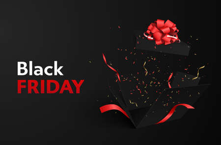 On a dark background, red-white inscription Black Friday. Flying confetti and tinsel from an exploding gift black box with a red bow design.
