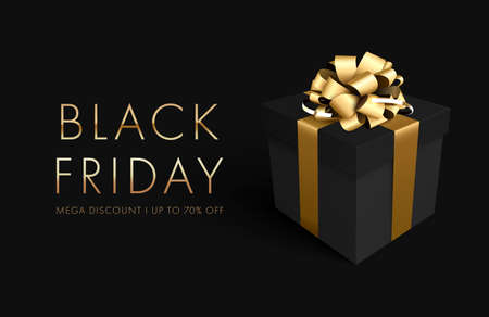 Black friday sale background with gift box. Banner, poster, golden text color on dark background for poster, banners, flyers, card