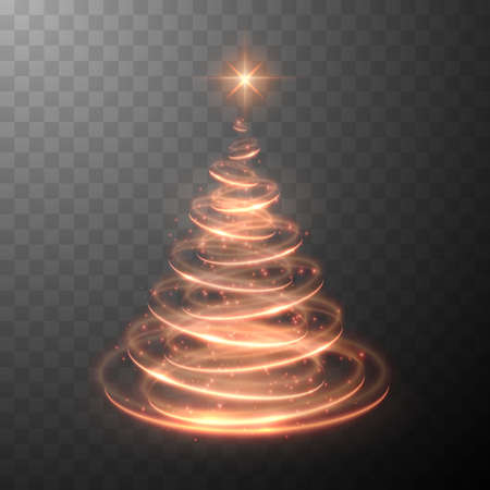 Holiday vector illustration of abstract Christmas tree with blurred lights effect on abstract background. Shiny lights sparkles. Vector illustration EPS10