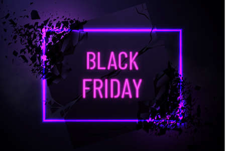 Black Friday Sale Banner With Explosive Effect. Black friday sale background. Neon holiday shopping sign with flares and sparkles. Illustration