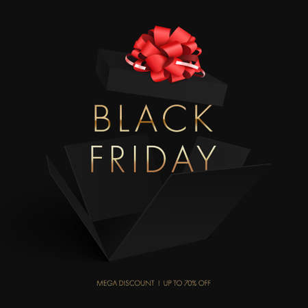 Black Friday sale. Black box with a red bow opened to pieces on a black background.Vector illustration. EPS 10