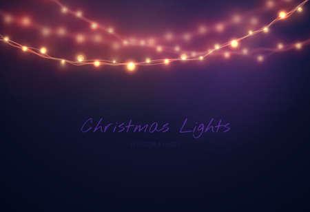 Christmas background with Light bulb garland. Vector christmas lights