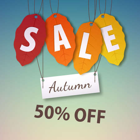Autumn sale 50 percent off. Vector fall leaf isolated. Bright fall leaves. Poster, card, label, banner design.