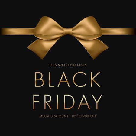 Black Friday Sale Banner. Luxury gold text. Background golden ribbon bow. Vector illustartion EPS10 Illustration
