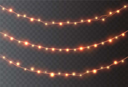 Christmas garland decoration. LED neon lights and lanterns isolated on transparent background. Vector illustration.