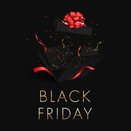 Black Friday gold letters on a black background banner. Explosion of a black gift box. Flying confetti, tinsel ribbons.