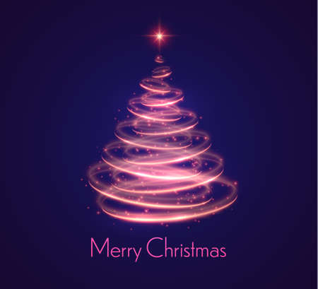 Holiday vector illustration of abstract Christmas tree with blurred lights effect on abstract background. Shiny lights sparkles