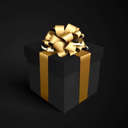 Black gift box with gold ribbon bow for black friday sale design. Illustration