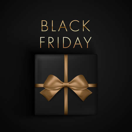 Black Friday Sale present box with gold ribbon bow, view from above. Banner, poster, golden text color on dark background.