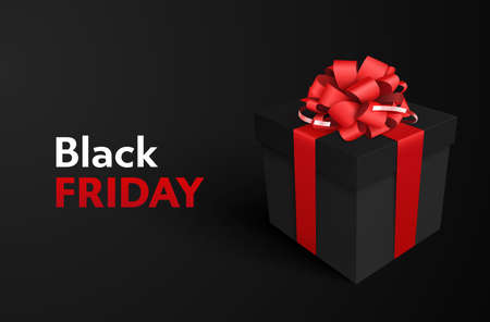 Super sale. Black Friday. Decorative black gift box with red bow on black background for sale design.