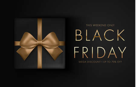 Black friday sale background with gift box. Modern design. Banner, poster, golden text color on dark background for poster, banners, flyers, card