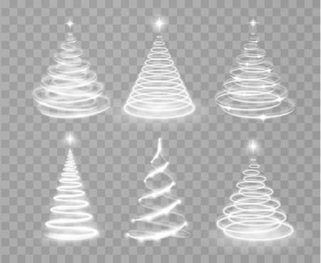 Shiny magic Christmas light tree collection. Shiny lights sparkles. Merry Christmas and Happy New Year Illustration