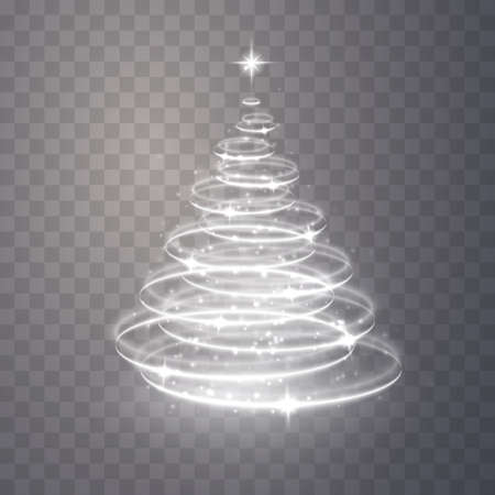 Christmas tree from light. Christmas tree vector element for holiday festive background. Shiny lights sparkles