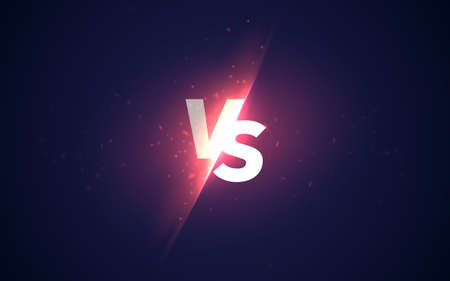 Vs sign. Vector versus background with glowing light