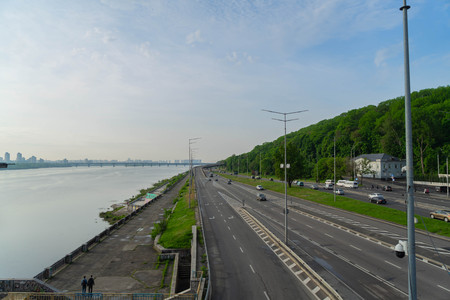 View of a large beautiful city in the early morning. Kiev. Ukraine.View from the Metro Bridge