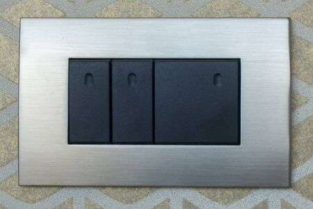 Beautiful sockets and black switches in various combinations with an aluminum frame. USB port. 版權商用圖片