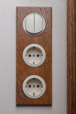 A block of two sockets and a two-position switch in retro style. Handmade decorative electric socket made of oak. Creative solution for the interior