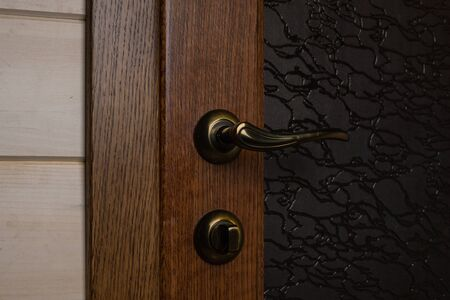 Solid oak door tinted in dark brown. Bronze handle and lock