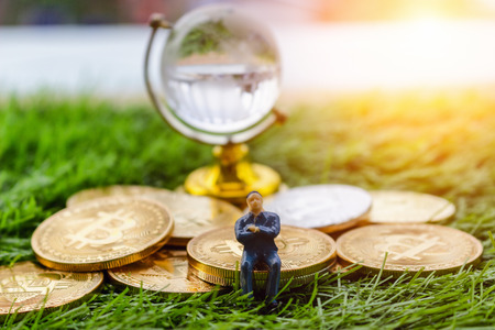 Gold crytocurrency bitcoin rests on the grass in a concept that represents the financial economy that affects the business of the virtual world through the Internet through the blockchain technology. Reklamní fotografie