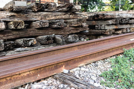 Old wooden railway pillow