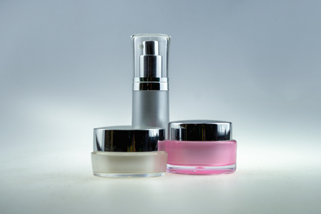 Set of cosmetic bottles for skin care, empty women on a white background isolate 写真素材