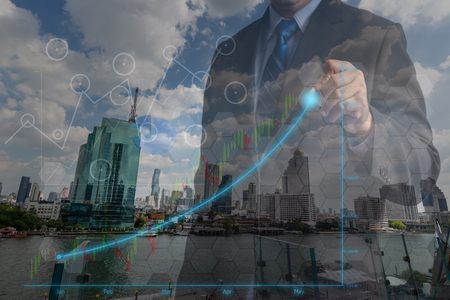 Double exposure Businessmen in the concept of successful financial investment achievement management in professional marketing and consulting, planning for business excellence With a city background