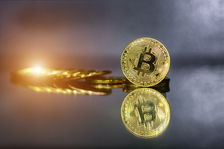 currency bitcoin and cryptocurrency that is used to trade and exchange on the internet through blockchain technology and is an important part of the financial and global economic system in the future. 写真素材