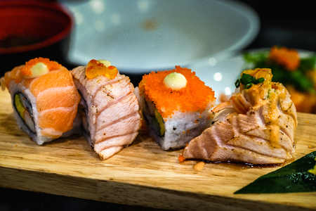 Sushi Japanese food on a wooden plate for health