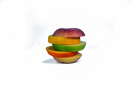 Sliced fruit isolated on a white background