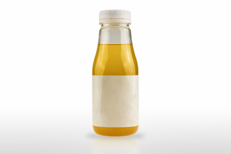 The plastic bottle package containing the product has a white label isolated on white background. 写真素材