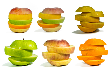 Sliced fruit, stacked isolated add paths on a white background 写真素材