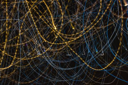 Speed light trails at night, long exposure abstract urban background