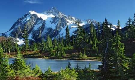 Mount Shuksan a week before the snows. Picture Lake is frozen over.