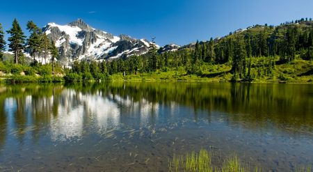 A view of Mount Shuksan from Picture Lake in the Heather Meadows region. photo