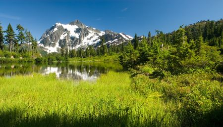 A view of Mount Shuksan from Picture Lake in the Heather Meadows region.