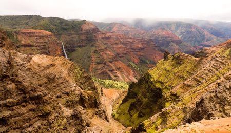 The top of Waipo'o Falls is seen in the Waimea Canyon on Kauai, Hawaii. Stock fotó