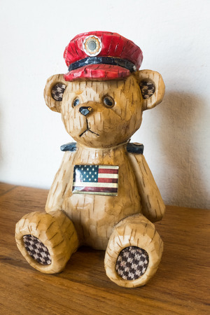 us soldier: Wooden Carved US Soldier Bear Stock Photo