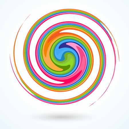 Colorful spiral Bright abstract circular rotating spiral A pattern of twisted colored lines for design and creativity Decorative creative design element Abstract background Vector graphic Vectores