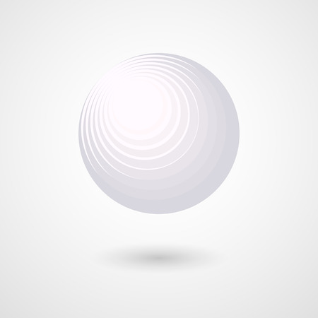 The three-dimensional white sphere Abstract design element Decorative futuristic 3D sphere ball circle in space A modern geometric circular volumetric object for design and creativity Vector